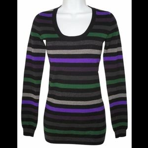 🔥SALE Theory striped knit Scoop neck sweater L